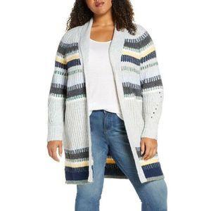 Caslon Long Cardigan Plus Size Staggered Stripe